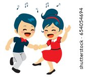 Young Cute Couple Dancing...