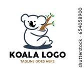 unique koala logo mascot... | Shutterstock .eps vector #654058900