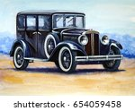 auto  retro car paintings   Shutterstock . vector #654059458