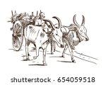 hand drawn sketch of bullock... | Shutterstock .eps vector #654059518