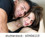 young couple smiling and... | Shutterstock . vector #65406115