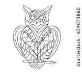 hand drawn zentangle owl... | Shutterstock .eps vector #654071860