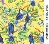 watercolor birds. tropical... | Shutterstock . vector #654071908