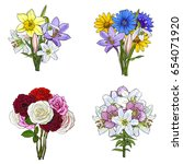 bouquets  bunches of lily  rose ... | Shutterstock .eps vector #654071920