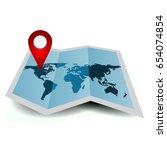 folded paper map of the world... | Shutterstock .eps vector #654074854