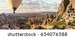 wide panorama of cappadocia... | Shutterstock . vector #654076588