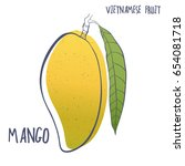 hand drawn mango icon. vector... | Shutterstock .eps vector #654081718