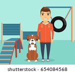 dog breed boxer sitting next to ... | Shutterstock .eps vector #654084568