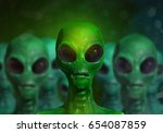 alien character and ufo visitor ... | Shutterstock . vector #654087859
