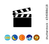 clapperboard simple icon | Shutterstock .eps vector #654088618