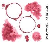 vector set wine spots  drops... | Shutterstock .eps vector #654089683