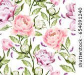 watercolor pattern with peony... | Shutterstock . vector #654091240