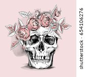 skull in a light pink rose head ... | Shutterstock .eps vector #654106276