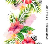 watercolor tropical leaves and... | Shutterstock . vector #654117184
