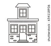 monochrome silhouette house... | Shutterstock .eps vector #654118936