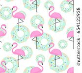 pink flamingos and donuts... | Shutterstock .eps vector #654122938