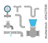 colorful set of pipes plumbing... | Shutterstock .eps vector #654127030