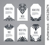 black and white ethnic tag set. ... | Shutterstock .eps vector #654128674