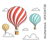hot air balloons isolated on... | Shutterstock .eps vector #654134728