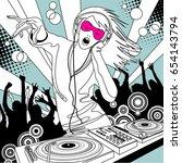 disc jockey girl with a dj... | Shutterstock .eps vector #654143794