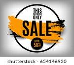 50  off orange sale poster on a ... | Shutterstock .eps vector #654146920