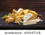 different types of cheese on...   Shutterstock . vector #654147118