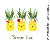 three pineapples with faces ... | Shutterstock .eps vector #654148819