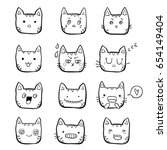 hand drawn set of black and... | Shutterstock .eps vector #654149404
