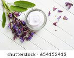 face cream with sage herbal... | Shutterstock . vector #654152413
