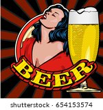 sensual lady and beer glass....   Shutterstock .eps vector #654153574