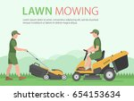 man mowing the lawn with yellow ...