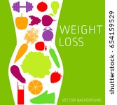 slimming concept  weight loss ... | Shutterstock .eps vector #654159529