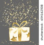 vector gold gift box with many... | Shutterstock .eps vector #654162508