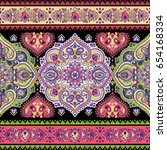 beautiful indian floral paisley ... | Shutterstock .eps vector #654168334