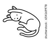 Cat Kitten Sleep Doodle Vector...
