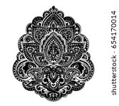 indian floral paisley medallion.... | Shutterstock .eps vector #654170014