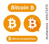 bitcoin logo sign button set | Shutterstock .eps vector #654172570