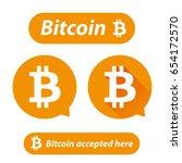 bitcoin logo sign button set | Shutterstock .eps vector #654172570