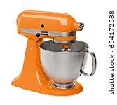 orange stand   kitchen mixer... | Shutterstock . vector #654172588