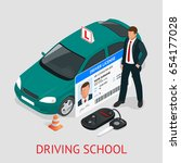 design concept driving school... | Shutterstock .eps vector #654177028