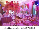luxury decorated with flowers... | Shutterstock . vector #654179044