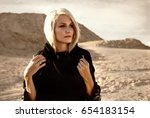 woman with blond hair and deep... | Shutterstock . vector #654183154