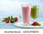 spinach and strawberry smoothie ... | Shutterstock . vector #654194854