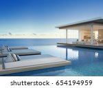 luxury beach house with sea... | Shutterstock . vector #654194959
