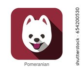 pomeranian dog face flat icon ... | Shutterstock .eps vector #654200530