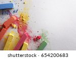 colored chalk on textured paper | Shutterstock . vector #654200683