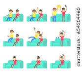 set friends play in video game... | Shutterstock .eps vector #654204460