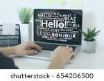 hello in different languages | Shutterstock . vector #654206500