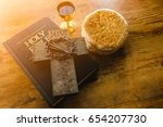 holy communion on wooden table... | Shutterstock . vector #654207730
