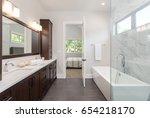 master bathroom in new luxury... | Shutterstock . vector #654218170